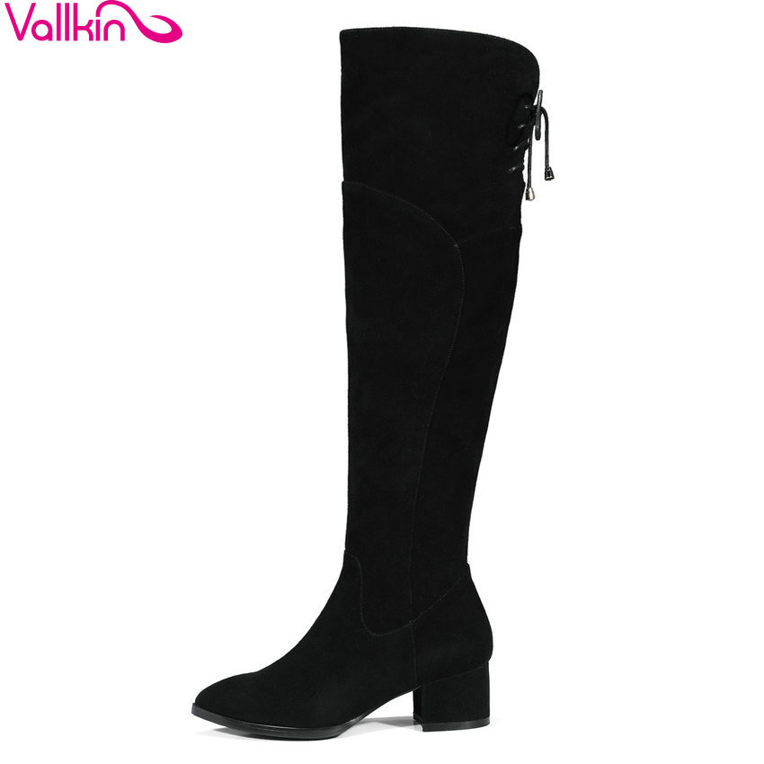 VALLKIN 2018 Lace Up Women Snow Boots Warm Fur Over The Knee Boots Cow Suede+ Scrub Ladies Square High Heels Shoes Size 34-39 yougolun woman nubuck winter over the knee snow boots 2018 women thigh high boots ladies square heels thick plush warm shoes