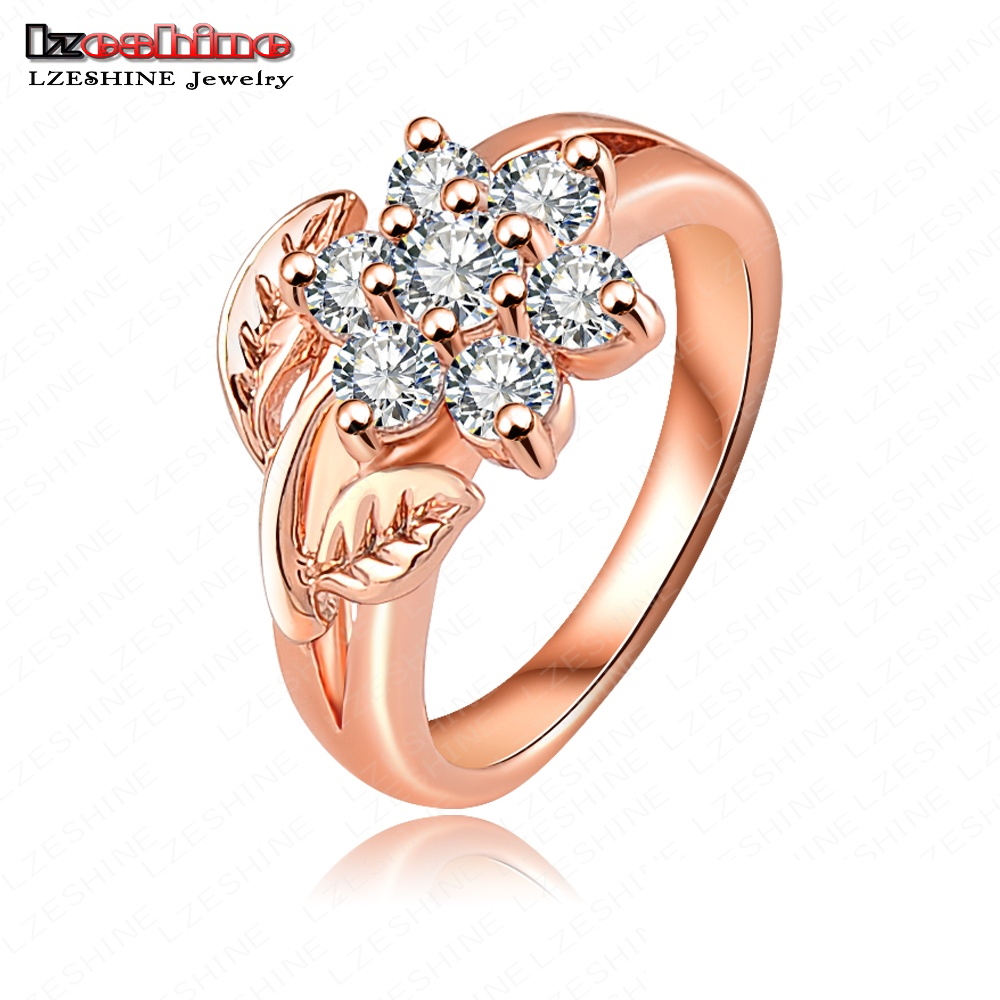 lzeshine hot selling fashion rose gold color austrian crystals flower engagement rings wedding jewelry anillos de - Selling Wedding Ring