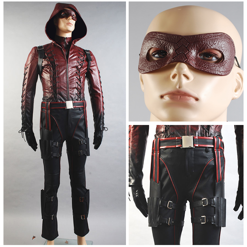 Arrow Season 3 Red Arrow Costume Roy Harper Arsenal Cosplay Costume Red Pleather Whole Set with Mask Quiver