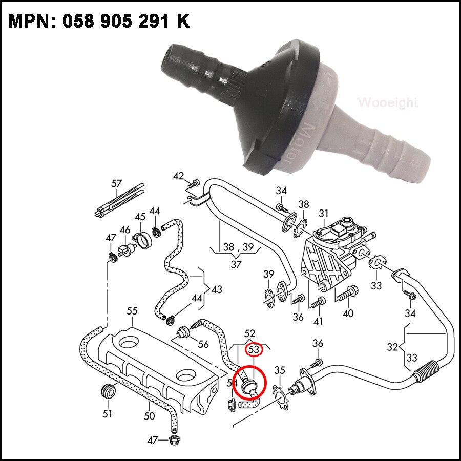 New Vacuum Air Pump Check Valve 058 905 291K