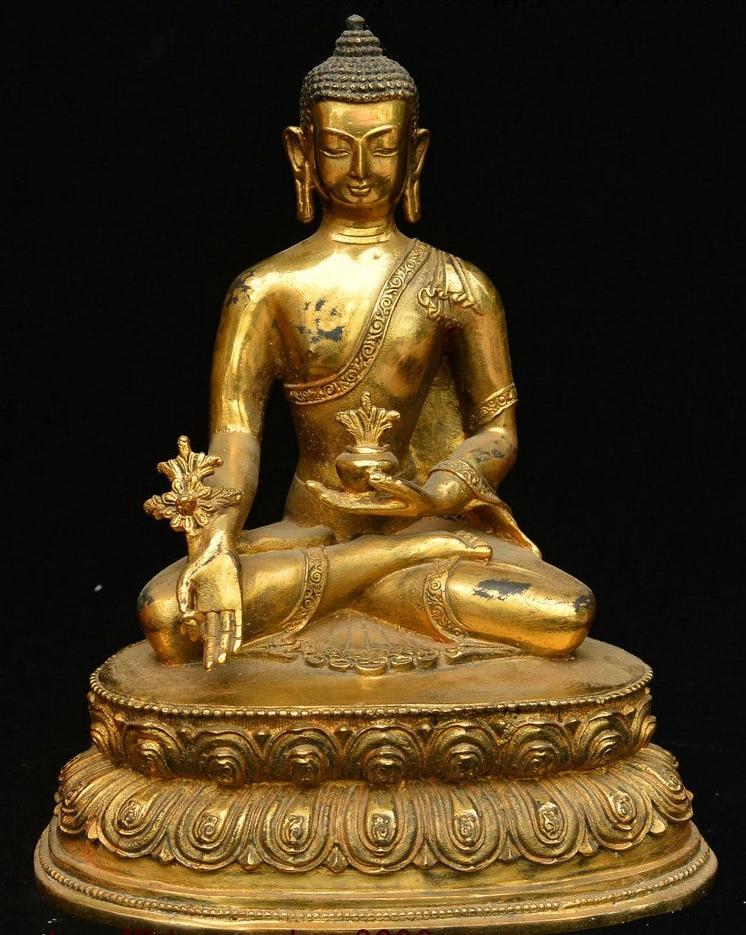 Statue de bol médical de bouddha | Temple bouddhiste tibétain doré Bronze Menla médecine bouddha