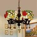 Европейский ретро Тиффани цвет стекло Роза арт бар клуб сад 5 хрустальные люстры