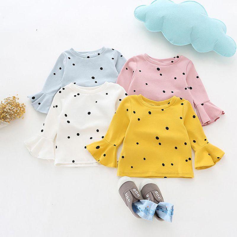 2017 Winter Baby Girls Shirt Lotus Leaf Sleeves Polka Dot Lolita Girl Clothing Shirt Toddler Kid White Baby Blouse