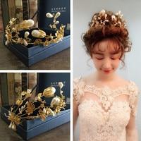 Bridal Princess Vintage Baroque Wedding Hair Accessories Pearl Gold Tiara King Big Crown For Bride Bridal