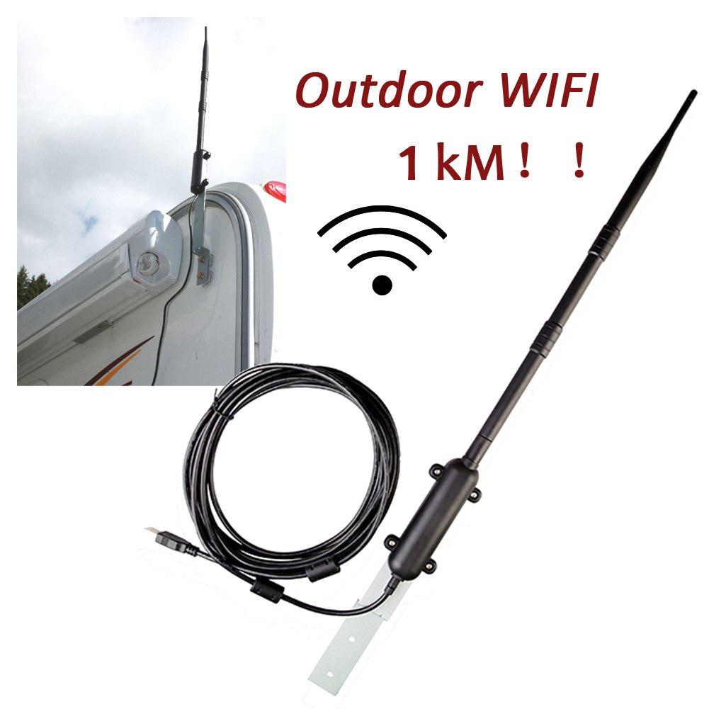 Extérieur 1 KM Wifi USB adaptateur WiFi antenne 802.11b/g/n amplificateur de Signal USB 2.0 récepteur de carte réseau sans fil