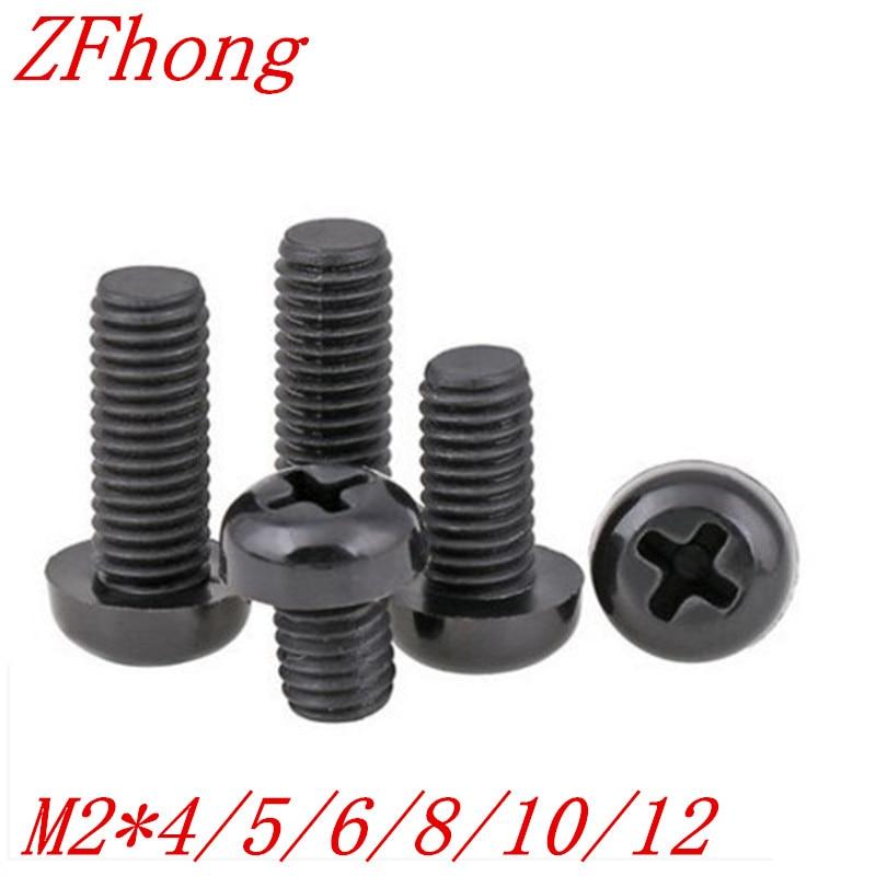 100pcs M2*4/5/6/8/10/12 black nylon round pan head screw агхора 2 кундалини 4 издание роберт свобода isbn 978 5 903851 83 6