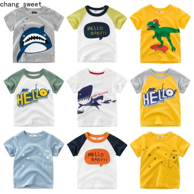 Los niños Camiseta de algodón de niño de manga corta de dibujos animados tiburón Impresión de bebé de algodón niños camiseta Tops chicas de hombre tlife Tops bebé ropa
