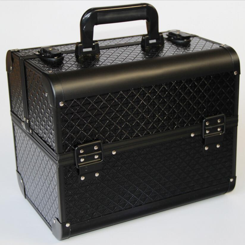 Добро качество черен цвят грим съхранение, грим организатор кутия за съхранение, преносим голяма кутия за бижута долива куфар козметични кутии  t