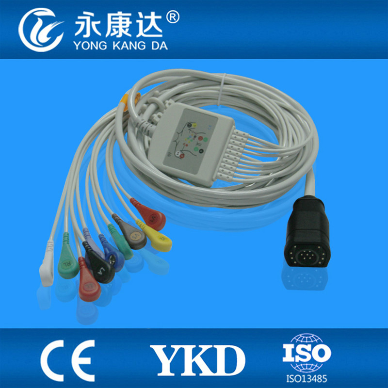 2PCS/ Lot Free Shipping One piece 15Pin Zoll 10 leads EKG accessories with AHA Snap leadwires,3.5M