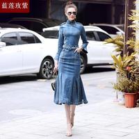 Ladies 2018 fashion New spring autumn dresses womens slim horn sleeve cheongsam denim dress female chinese style Fishtail dress