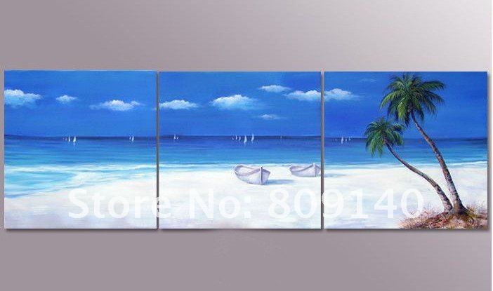 Stretched Blue Sky Sea Beach Sand Tropical Oil Painting On Canvas Artwork Handmade Modern Home Office Hotel Wall Art Decor Gift In Calligraphy