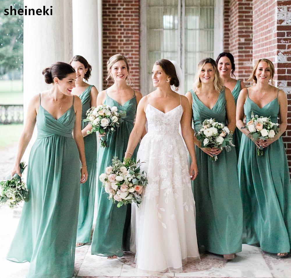 2019 Cheap Summer Chiffon Mint Green Bridesmaid Dress V