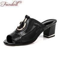 FACNDINLL Women Sandals 2018 Fashion Summer Genuine Leather Shoes Open Toe Sandals Heels 5 5cm Black