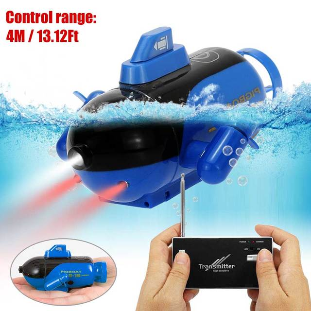 Mini RC Submarine Remote Control Under Boat Submarine Bath Toys Bathtub Pools Lakes Toys Model Electric Kids Toy