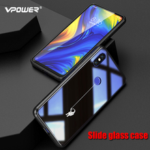 Slide glass painted cases For Xiaomi mi Mix 3 case Vpower tempered shockproof Phone for xiaomi mix3 mix Luxury shell