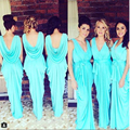 Aqua bonito da dama de honra vestido decote V Chiffon drapeado longo vestido de festa Backless Plus Size Bridemaids vestidos para casamentos