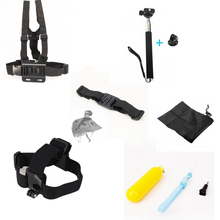 For gopro Accessories Helmet Extention Kits Mount+Chest Belt+Head Strap+Bobber Monopod For Gopro Xiaomi yi camera Accessories