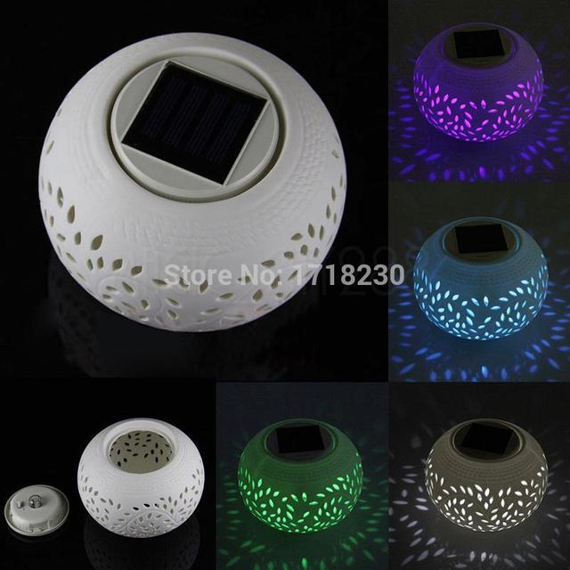 colour changing led sun power solar ceramic light filigree table