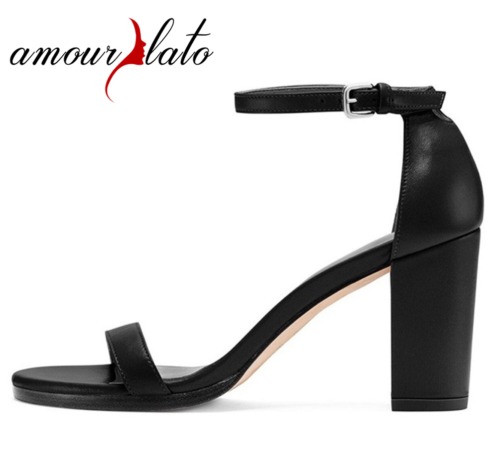 Amourplato Women's Open Toe Ankle Strap Sandals 8cm Chunky Heels Elegant Office Party Evening Dress Shoes Comfort Lady Shoes amourplato womens handmade pointed toe ankle wrap flats bridesmaid ballerinas ankle strap flats shoes with buckle size5 13
