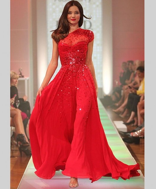 Velvet Miranda Kerr Red Long Prom Dresses 2015 with Crystal Party Gowns vestidos de noche galajurken ballkleider-in Prom Dresses from Weddings & ...