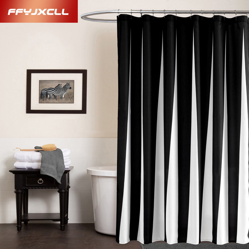 Hot sale 180*180cm Polyester Modern Classic White Black Splicing Striped Waterproof Mildew Bathroom Shower Curtain