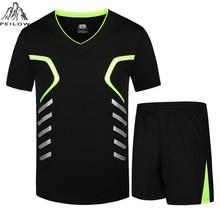 PEILOW hombres chándal camisetas de verano + corto moda hombres conjuntos Casual camisetas y tops hombre Camiseta deportiva marca talla de ropa M-9XL