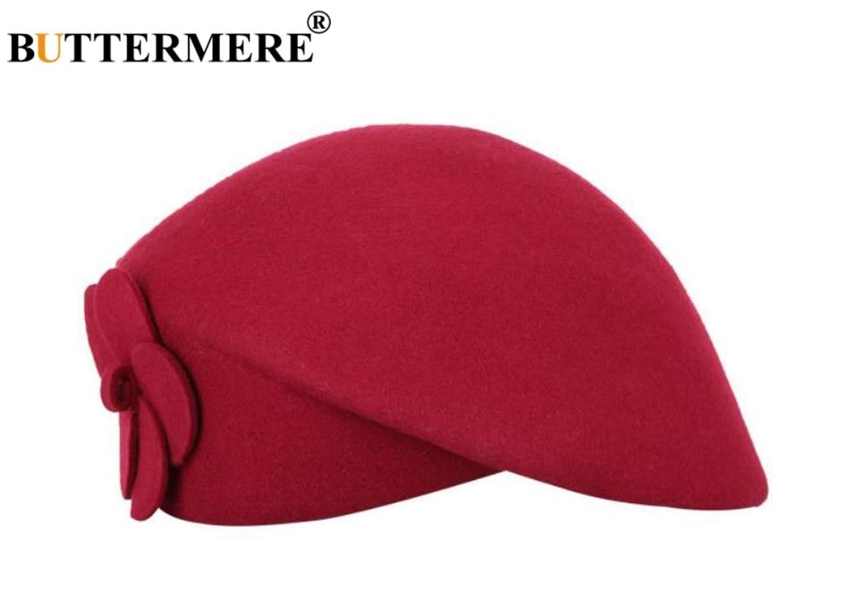 BUTTERMERE Elegant Hats For Ladies Wool Red Fedoras Flower Grace French Berets Women Cap Solid Warm Autumn Winter Felt Hat Black 23