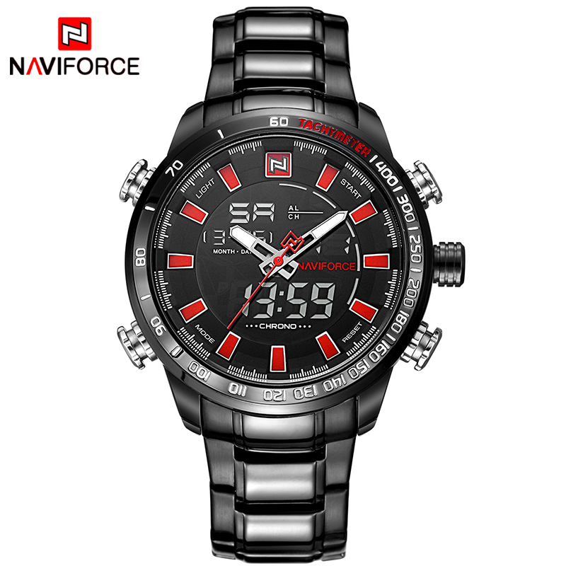 цена 2017 Luxury Brand NAVIFORCE Men's Quartz Watches Men Sports Clock Army Military Full Steel Wrist Watch Relogio Masculino онлайн в 2017 году
