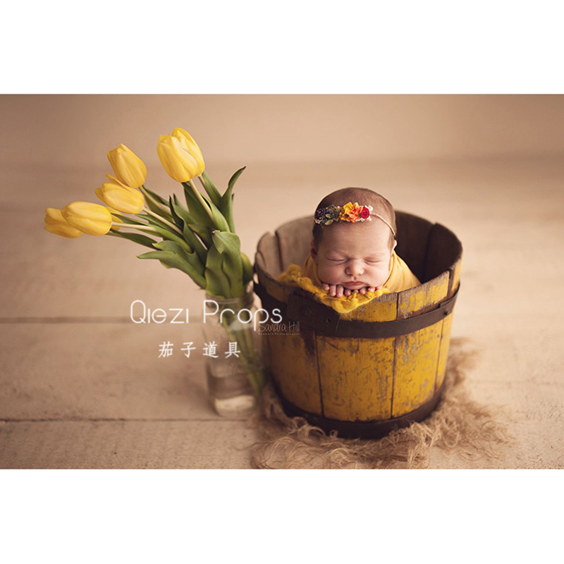Plastic Tulip Artificial Flowers Baby Photo Shoot For Studio Flokati Newborn Photography Props Basket Accessories