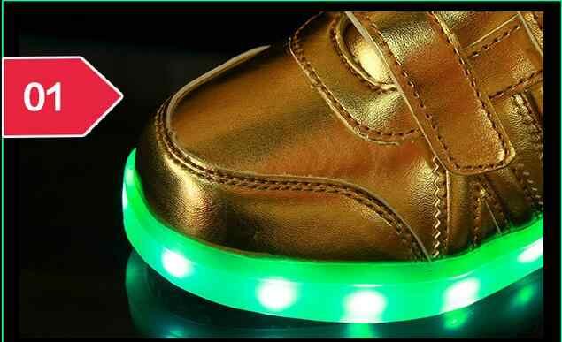 2016 USBชาร์จตะกร้าสำหรับเด็กรองเท้าLedที่มีLight Upเด็กลำลองBoys & G Irlsส่องสว่างรองเท้าผ้าใบเรืองแสงรองเท้าอองฟองต์