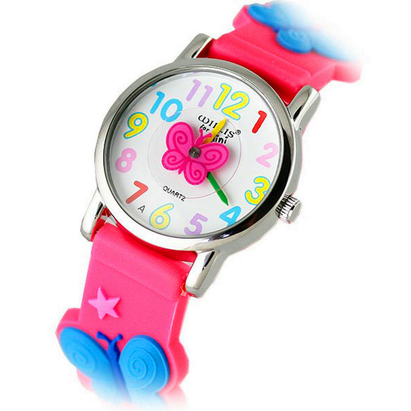 Children Fashion Mini 3D Cartoon Silicone Lovely Wristwatches Girls Promotion Dress Gift Watches