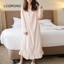 Spring Sweet Flannel Sleepwear Dress Women Long Sleeve Square Collar Lace Mid Calf Dress Winter Warm Comfortable Girl Nightgown