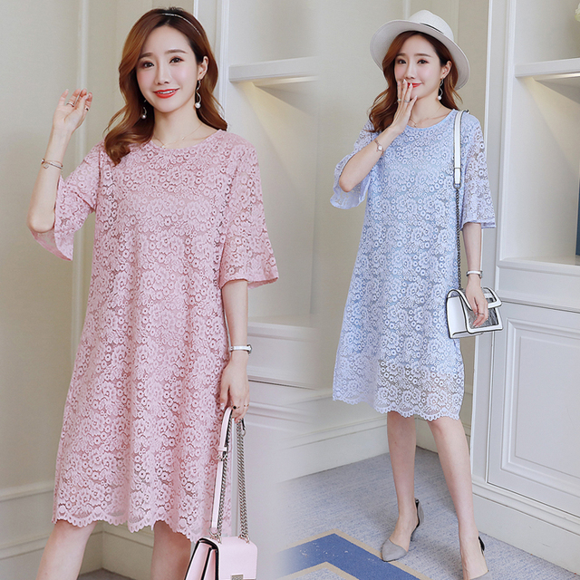 7eb841b69cd 6256  Elegant Soft Lace Maternity Dress 2018 Summer Korean Fashion Clothes  for Pregnant Women Sweet Loose Pregnancy Clothing