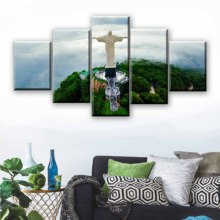 Canvas Painting Christ the Redeemer (statue) 5 Pieces Wall Art Modular Wallpapers Poster Print for living room Decor