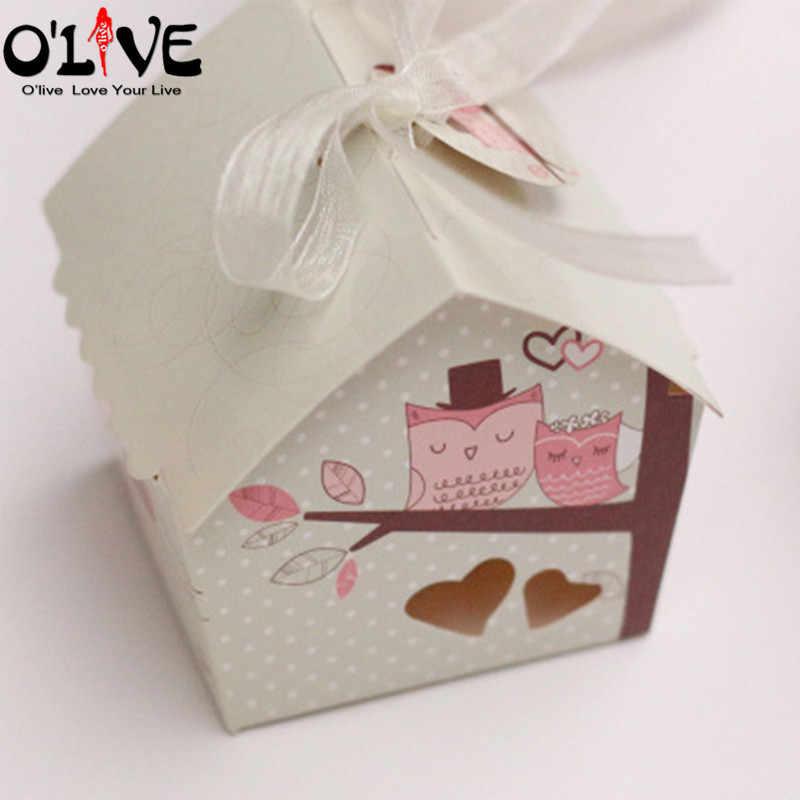 Cajas Bautizo.50 Uds Caja De Dulces Mini Casa Pajaro Caja De Regalo