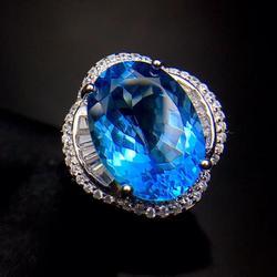 Büyük boy yanıp sönen okyanus mavi topaz taş yüzük gümüş 2