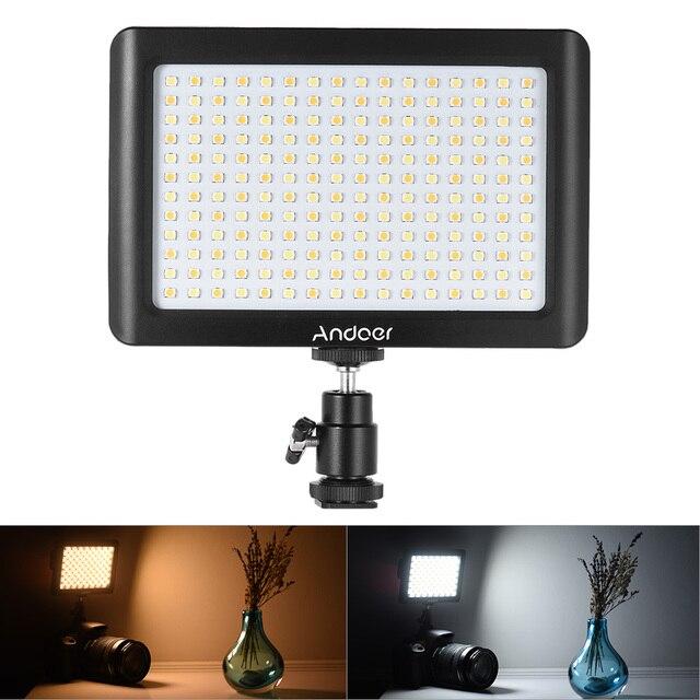 Andoer Mini Studio vidéo photographie LED panneau lumineux lampe 3200K/6000K 192 pièces perles pour Canon Nikon DSLR appareil photo DV caméscope