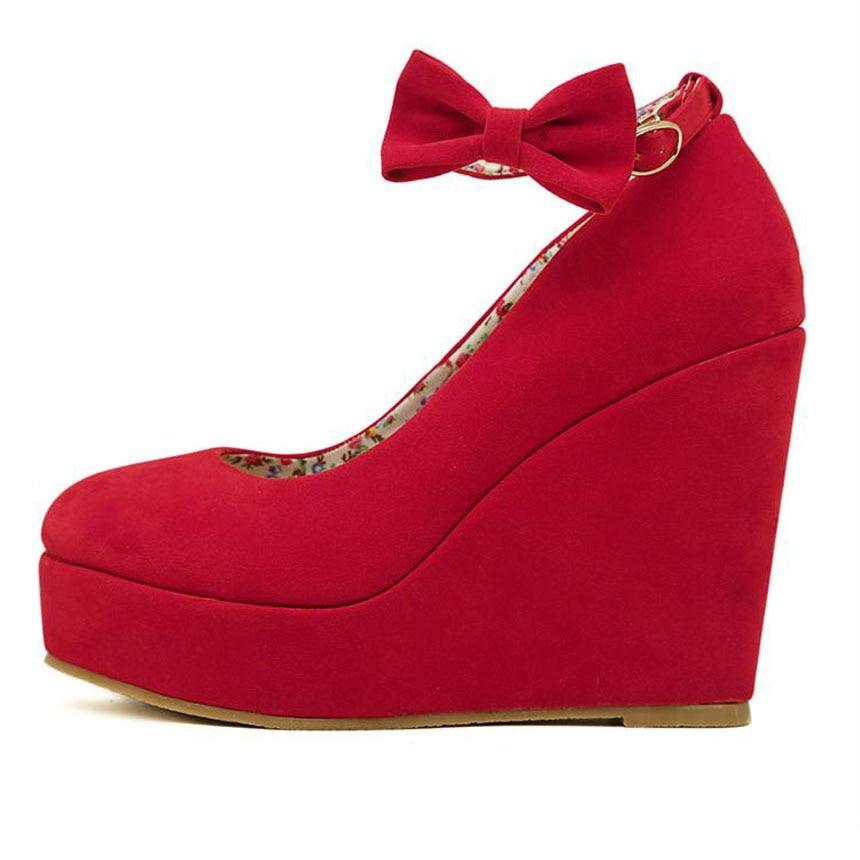 e32a949ffcfe Female Shoe Vogue Black Bow Wedges High Heels Women Cute Buckle Shoes Sexy  Women Fashion Buckle Ladies Shoes Platform Pumps z25-in Women s Pumps from  Shoes ...