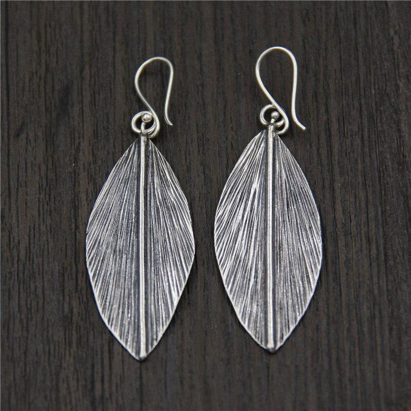 C&R Real 925 Sterling Silver Earrings for Women Long Leaves Black Thai Silver Drop Earrings Handmade Fine Jewelry