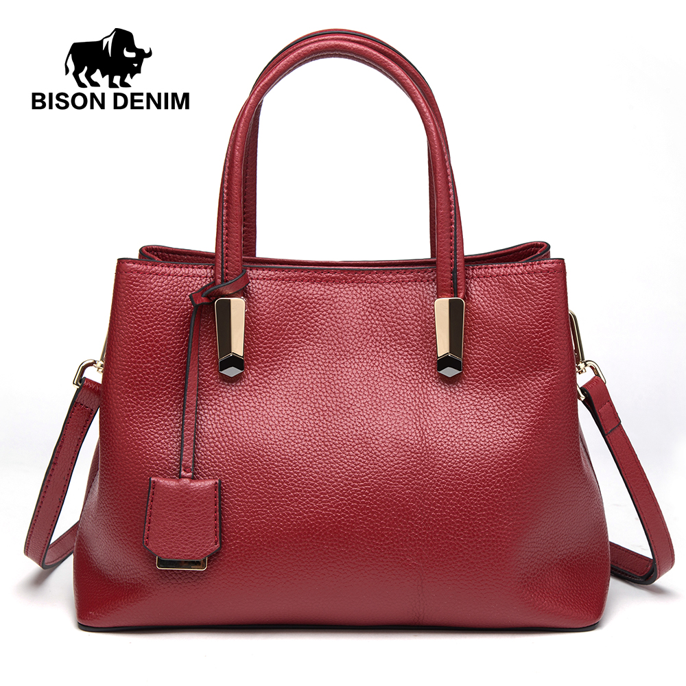 BISON DENIM Luxury Red Tote Bag Women Handbags Cowskin Genuine Leather Handbag Large Capacity Bag Sling Bags For Women N1484 fashion women genuine leather handbags large capacity tote bag oil wax leather shoulder bag crossbody bags for women