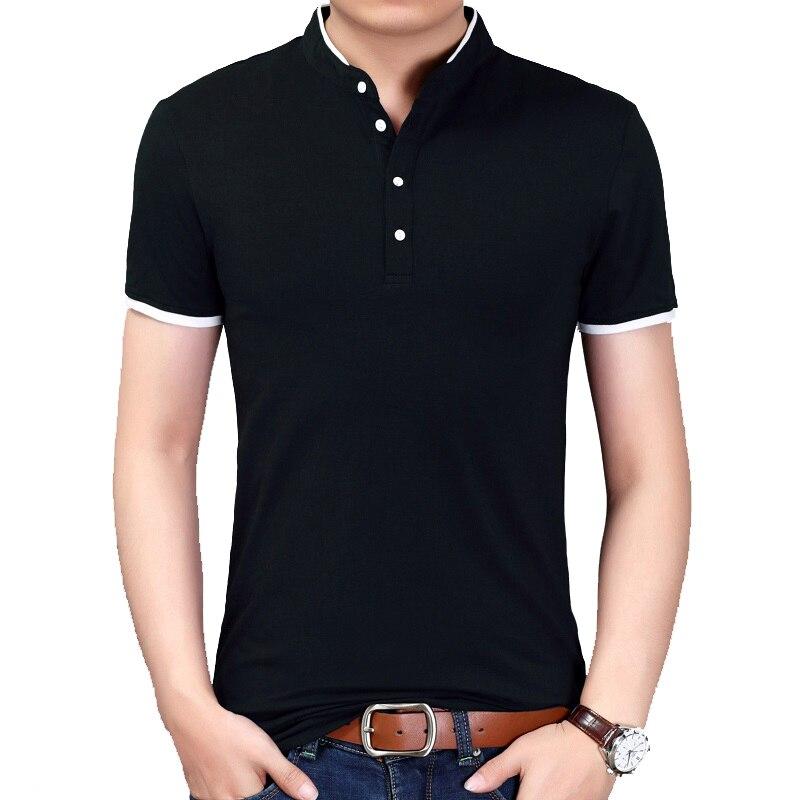 BROWON Summer New Fashion Brand Clothing Men   T     Shirt   Short Sleeve Mandarin Collar Casual Tshirt Men 2018 New Arrival