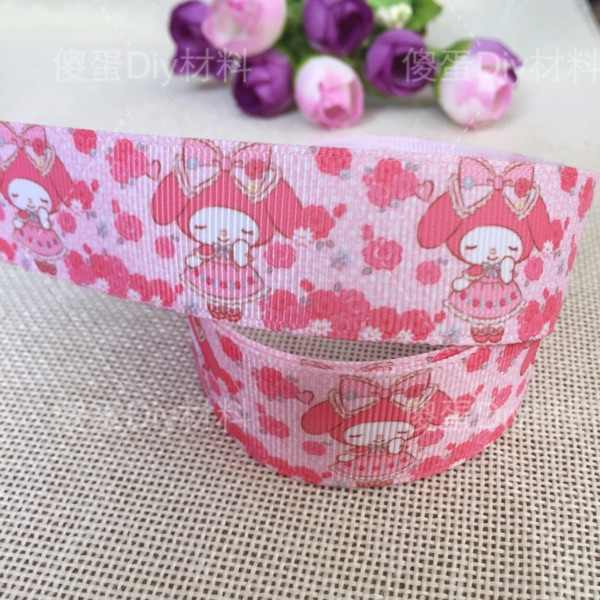 "1 ""25MM new sales 10yard slove My Melody cartoon printed rib ribbon Diy hair accessories material"