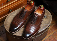 Men business leather square toe chunky heel oxford dress shoes lace up handmade shoes causal shoes