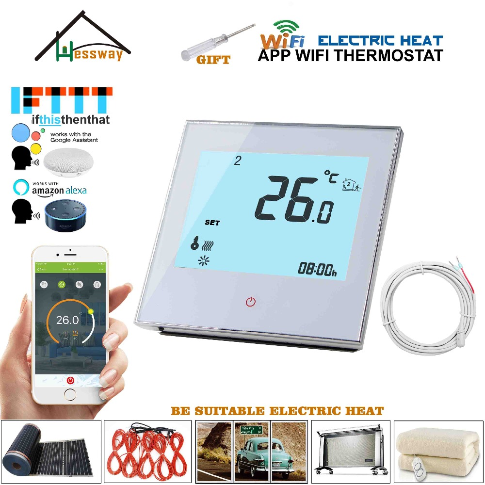 Voice interaction Weekly Programmable google home control wifi thermostat 16A heating for electric floor