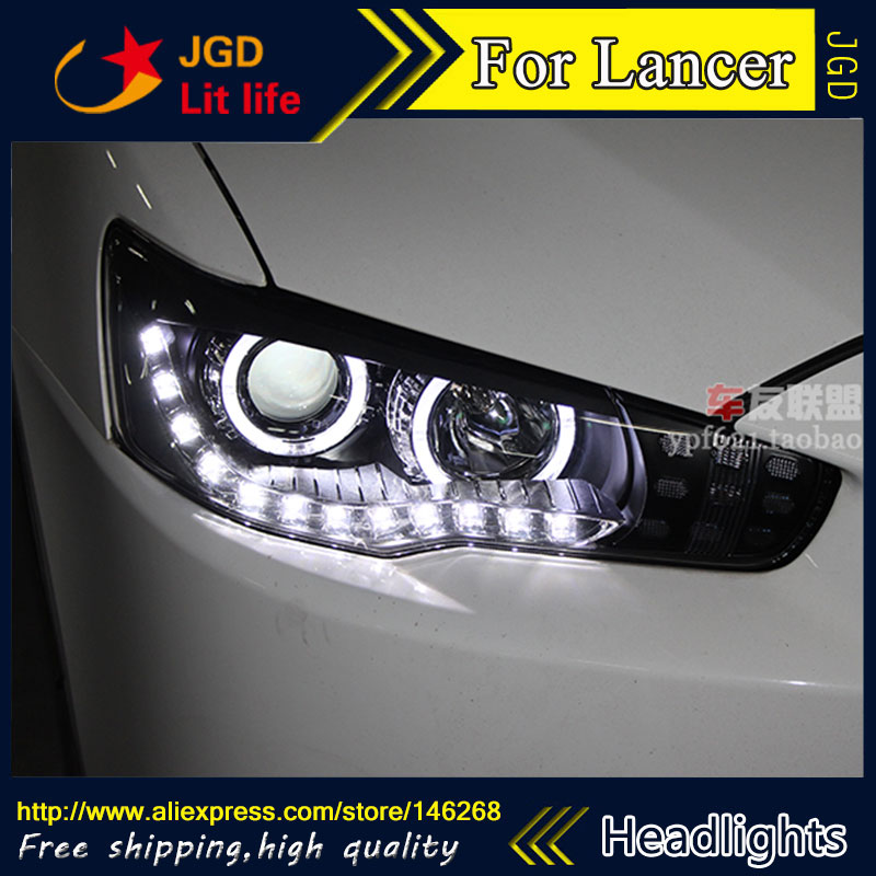 Free shipping ! Car styling LED HID Rio LED headlights Head Lamp case for Mitsubishi Lancer Bi-Xenon Lens low beam
