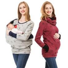 a8bc6778e 2018 nueva ropa de maternidad para las mujeres de punto el embarazo con  capucha Tops T camisa de invierno lactancia embarazada c.