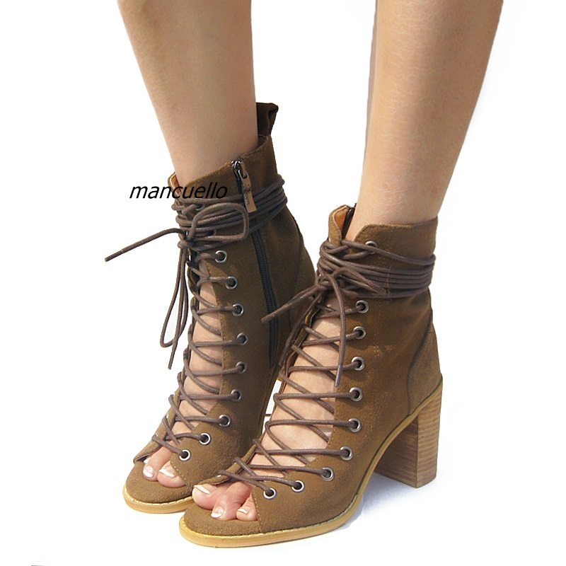 цена New Arrival Open Toe Cross Strap Chunky Heel Gladiator Sandals Dark Khaki PU Leather Cut-out Block Heel Lace Up Dress Sandals