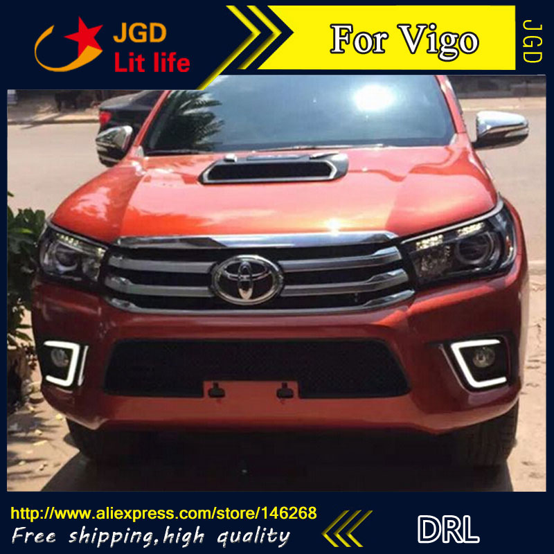 Free shipping ! 12V 6000k LED DRL Daytime running light for Toyota Hilux Revo VIGO 2015 2016 fog lamp frame Fog light hot sale 12v 6000k led drl daytime running light for toyota corolla 2007 2010 plating fog lamp frame fog light