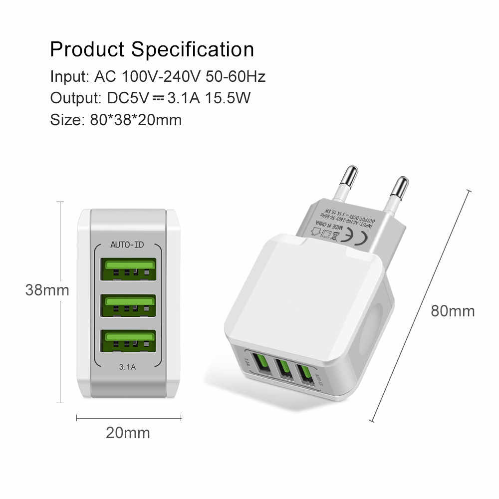 Cargador rápido para teléfono móvil UE Puerto 2/3 adaptador de cargador USB cargador de pared de viaje cargador de teléfono Cables USB para iphone Samsung Huawei