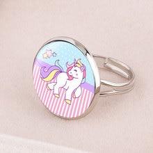 Модный милый рисунок единорога кольцо для девочек детское женское регулируемое кольцо из сплава с кристаллами на палец ювелирное изделие подарок для девочки